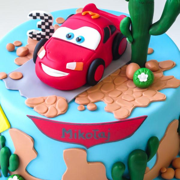 U527 - tort urodzinowy, na urodziny, dla dzieci, artystyczny, auto, samochodziki, cars, zygzak, tort z dostawą, transportem warszawa, piaseczno, konstancin jeziorna, góra kalwaria, polska