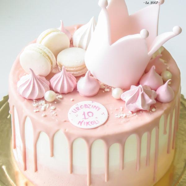 K71 - tort, drip, cake, bez masy cukrowej, w kremie, korona, dla dziewczynki, urodzinowy, z dostawą, birthday, oblewany, z polewą, czekolada, tort z transportem warszawa, piaseczno, konstancin jeziorna, góra kalwaria, wilanów