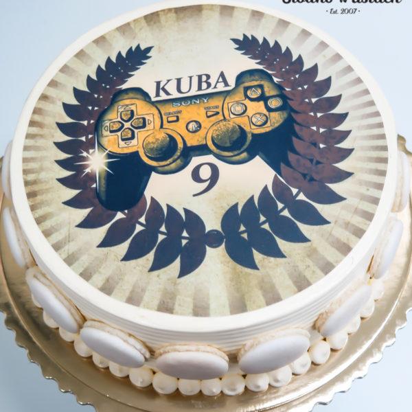 K76 - tort, w kremie, klasyczny, playstation, konsola, ze zdjęciem, z wydrukiem, z dostawą, urodzinowy, bez masy cukrowej, tort z transportem warszawa, wilanów,konstancin jeziorna