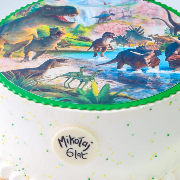 K84 - tort, w kremie, klasyczny, dinozaury, ze zdjęciem, z wydrukiem, warszawa, z dostawą, urodzinowy, bez masy cukrowej, tort z transportem warszawa, wilanów,konstancin jeziorna