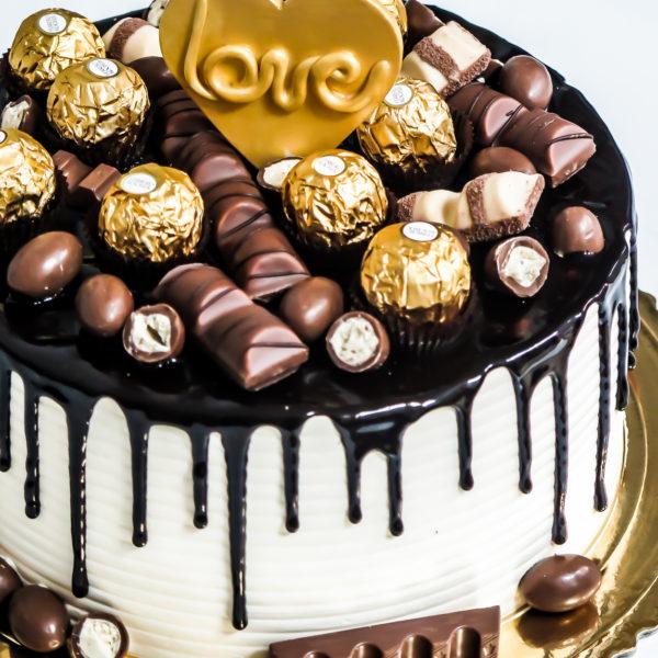 K86 - tort, drip, cake, bez masy cukrowej, w kremie, ferrero, kinder, urodzinowy, z dostawą, birthday, oblewany, z polewą, czekolada, tort z transportem warszawa, piaseczno, konstancin jeziorna, góra kalwaria, wilanów
