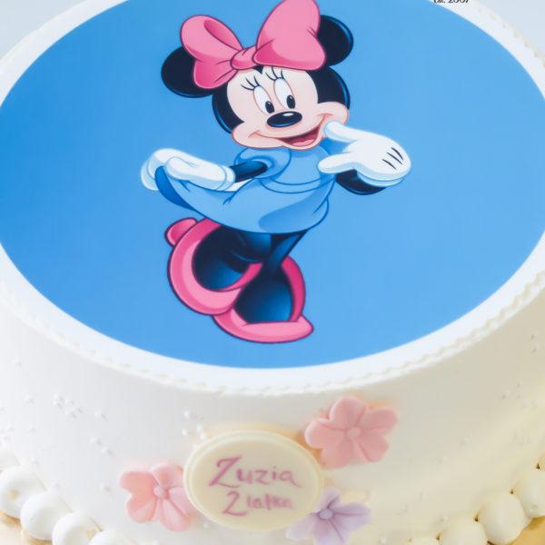 K94 - tort, w kremie, klasyczny, myszka, minnie, ze zdjęciem, z wydrukiem, dla dziewczynki, warszawa, z dostawą, urodzinowy, bez masy cukrowej, tort z transportem warszawa, wilanów,konstancin jeziorna