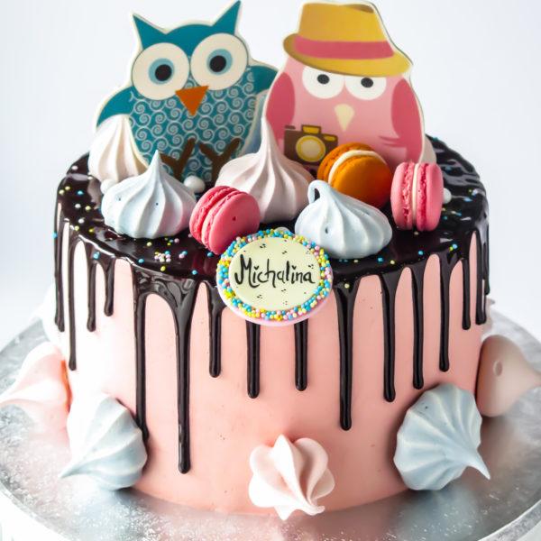 LM83 - tort urodzinowy, na urodziny, dla dziecka, drip, w kremie, sówki, dla dziewczynki, last minute, z bezami, na ostatnią chwilę, bez masy cukrowej, tort z dostawą, transportem, warszawa, piaseczno, konstancin jeziorna, góra kalwaria, wilanów