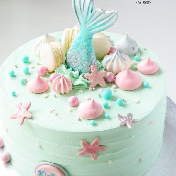 LM85 - tort urodzinowy, na urodziny, dla dziewczynki, w kremie, ogon, syrenka, last minute, na ostatnią chwilę, bez masy cukrowej, tort z dostawą, transportem, warszawa, piaseczno, konstancin jeziorna, góra kalwaria, wilanów