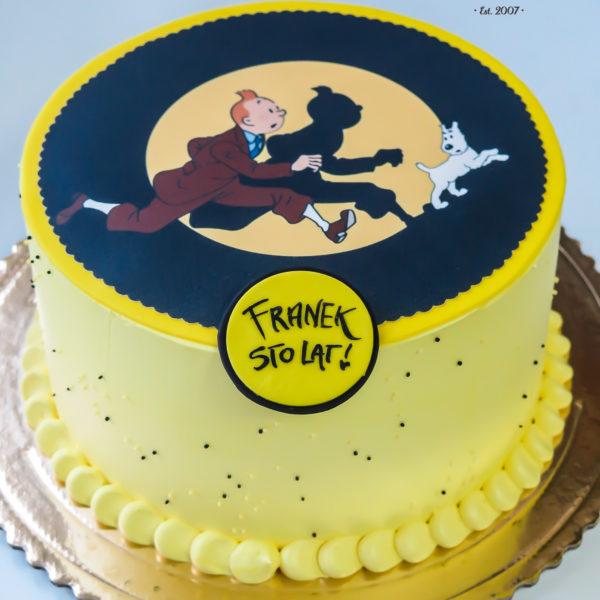LM97 - tort urodzinowy, na urodziny, dla dzieci, przygody tintina, w kremie, last minute, na ostatnią chwilę, bez masy cukrowej, tort z dostawą, transportem, warszawa, piaseczno, konstancin jeziorna, góra kalwaria, wilanów