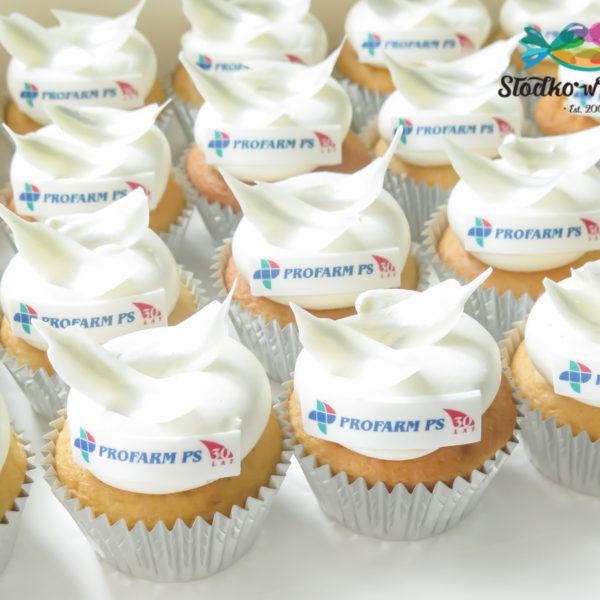 F193 - muffiny firmowe, Profarm PS, cupcakes, babeczki firmowe, dla firm, słodycze firmowe, reklamowe, personalizowane, z logo, warszawa, z dostawą, polska