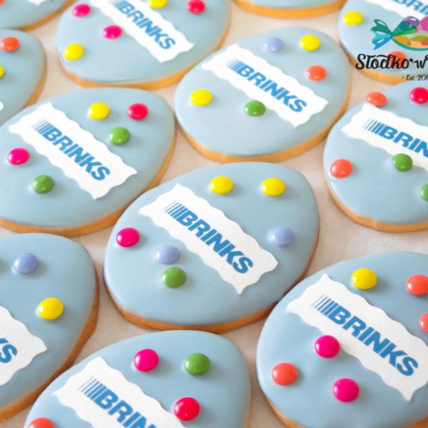 F194 - ciastka firmowe, kruche, dla firm, słodycze firmowe, reklamowe , wielkanoc, brinks, personalizowane, z dostawą, warszawa, polska