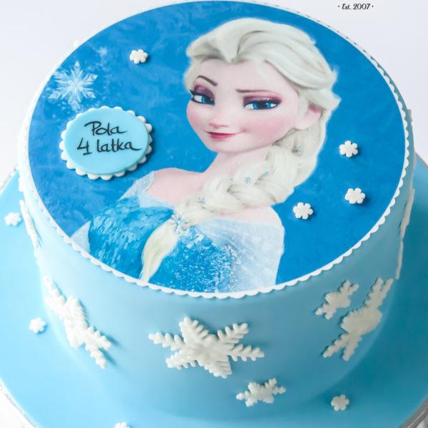 U131 - tort urodzinowy, na urodziny, dla dzieci, artystyczny, kraina lodu, księżniczka, elsa, konstancin jeziorna, warszawa, piaseczno, z dostawą