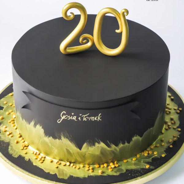U530 - tort rocznicowy, na rocznicę, urodzinowy, artystyczny, złocony, czarny, z dostawą, dowozem, konstancin jeziorna, warszawa, piaseczno