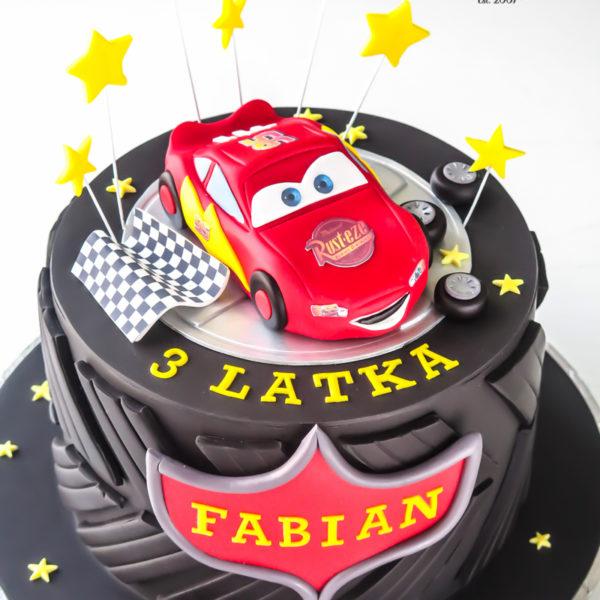 U535 - tort urodzinowy, na urodziny, dla dzieci, artystyczny, zygzak, mc queen, cars, auta, opona, tort z dostawą, transportem warszawa, piaseczno, konstancin jeziorna, góra kalwaria, polska