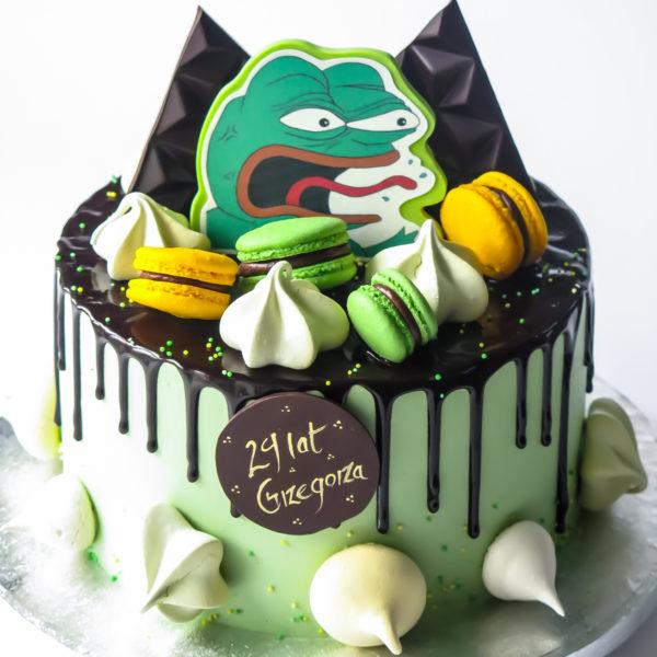 U541 - tort urodzinowy, na urodziny, w kremie, bez masy cukrowej, żaba, pepe the frog , drip, tort z dostawą, transportem warszawa, piaseczno, konstancin jeziorna, góra kalwaria, polska