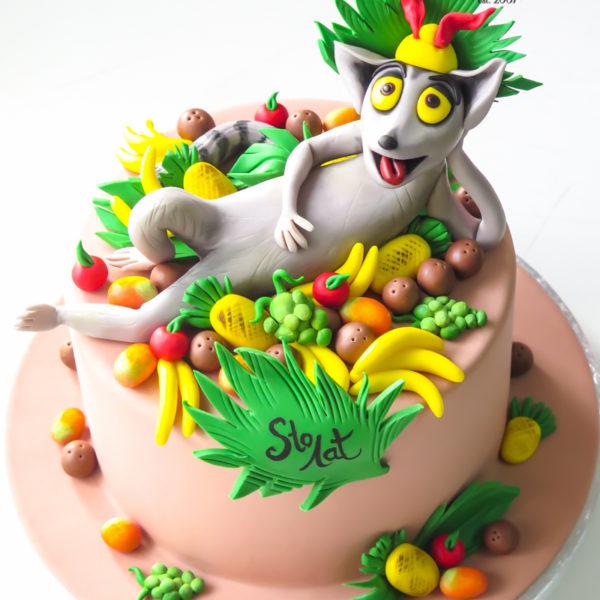 U546 - tort urodzinowy, na urodziny, dla dzieci, artystyczny, król julian, madagaskar, tort z dostawą, transportem warszawa, piaseczno, konstancin jeziorna, góra kalwaria, polska