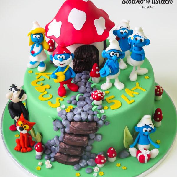 U547 - tort urodzinowy, na urodziny, dla dzieci, artystyczny, smerfy, tort z dostawą, transportem warszawa, piaseczno, konstancin jeziorna, góra kalwaria, polska