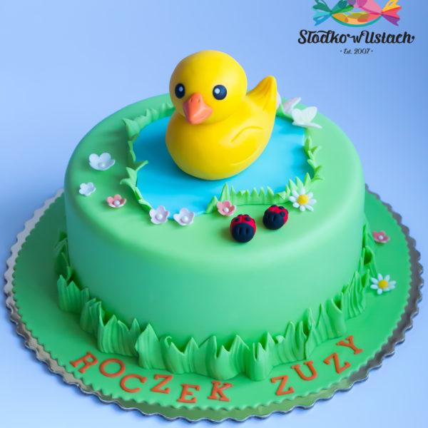U548 - tort urodzinowy, na urodziny, dla dzieci, roczek, 1 urodziny, artystyczny, żółta, kaczuszka, tort z dostawą, transportem warszawa, piaseczno, konstancin jeziorna, góra kalwaria, polska
