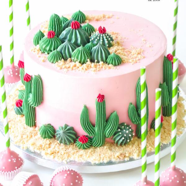 U561 - tort urodzinowy, na urodziny, artystyczny, elegancki, sukulenty, kaktusy, w kremie, bez masy cukrowej, z dostawą, transportem, warszawa, piaseczno, konstancin jeziorna, góra kalwaria, polska