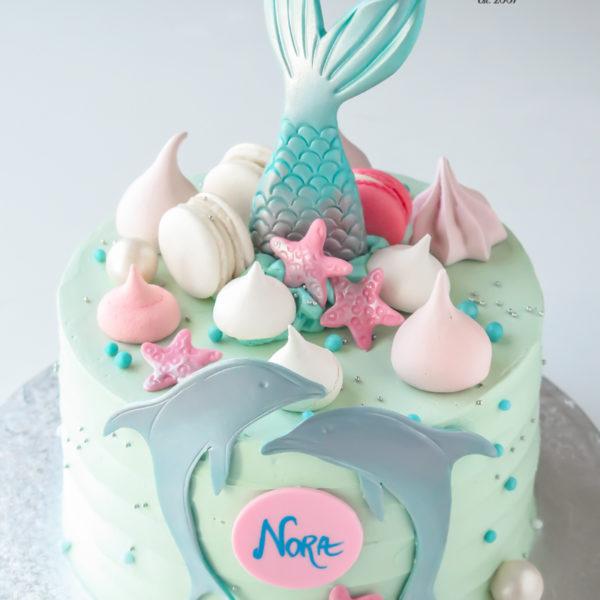 U566 - tort urodzinowy, na urodziny, dla dzieci, syrenka, ogon syrenki, delfiny, bez masy cukrowej, w kremie, tort z dostawą, transportem warszawa, piaseczno, konstancin jeziorna, góra kalwaria, polska