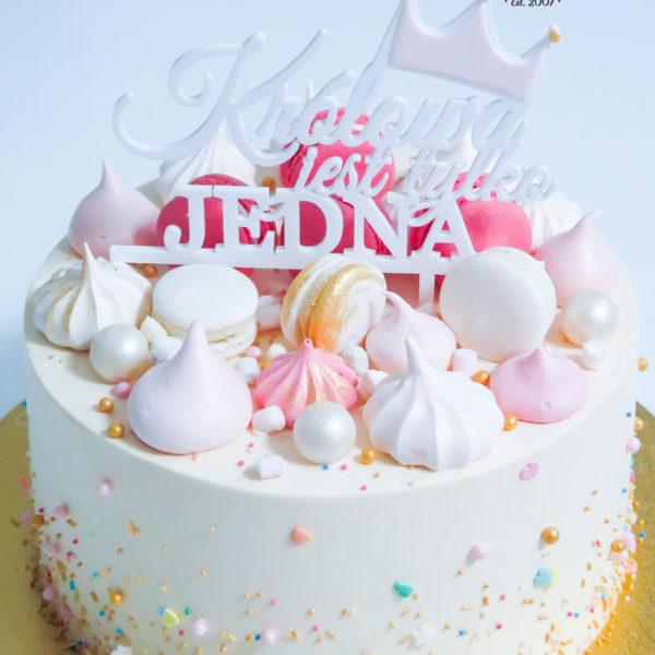 U569 - tort urodzinowy, na urodziny, artystyczny, elegancki, królowa jest tylko jedna, w kremie, kobiecy, bez masy cukrowej, z dostawą, transportem, warszawa, piaseczno, konstancin jeziorna, góra kalwaria, polska