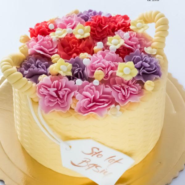 U585 - tort urodzinowy, na urodziny, artystyczny, kwiaty lukrowe, kosz z kwiatami,, tort z dostawą, transportem warszawa, piaseczno, konstancin jeziorna, góra kalwaria, polska