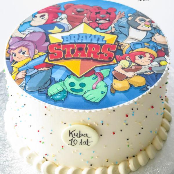 U586 - tort urodzinowy, na urodziny, dla dzieci, brawl stars, bez masy cukrowej, w kremie, tort z dostawą, transportem warszawa, piaseczno, konstancin jeziorna, góra kalwaria, polska