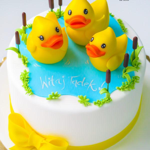 U587 - tort urodzinowy, na urodziny, dla dzieci, roczek, 1 urodziny, artystyczny, żółta, kaczuszka, tort z dostawą, transportem warszawa, piaseczno, konstancin jeziorna, góra kalwaria, polska