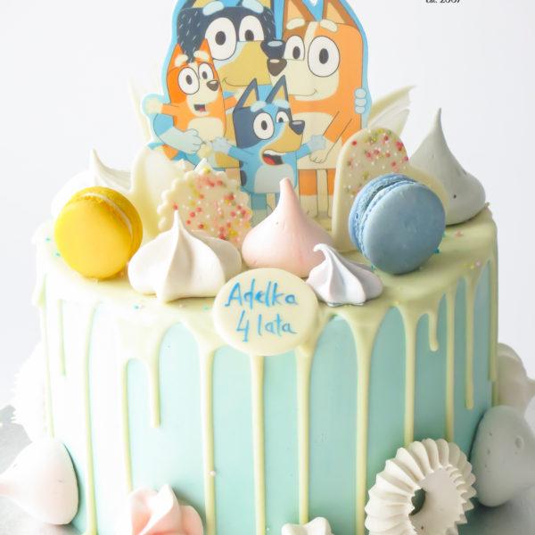 U589 - tort urodzinowy, na urodziny, dla dzieci, w kremie, bez masy cukrowej, pieski, bluey, drip, tort z dostawą, transportem warszawa, piaseczno, konstancin jeziorna, góra kalwaria, polska