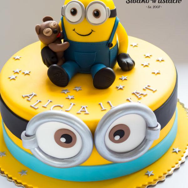 U595 - tort urodzinowy, na urodziny, dla dzieci, artystyczny, minionki, minionek, tort z dostawą, transportem warszawa, piaseczno, konstancin jeziorna, góra kalwaria, polska