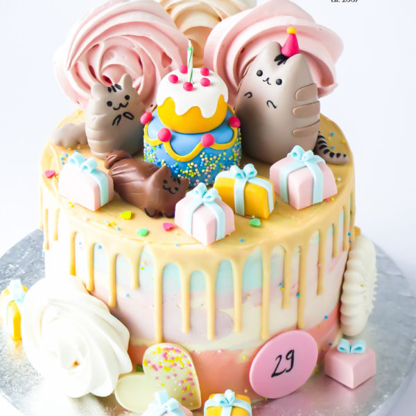 U598 - tort urodzinowy, na urodziny, w kremie, bez masy cukrowej, kot, pusheen, drip, tort z dostawą, transportem warszawa, piaseczno, konstancin jeziorna, góra kalwaria, polska