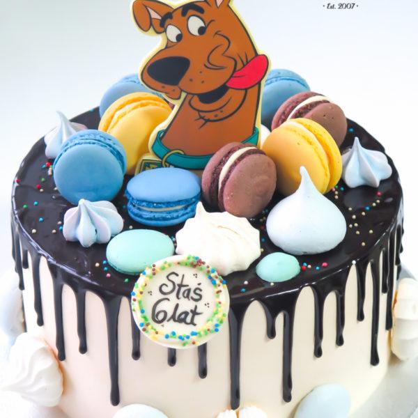 U599 - tort urodzinowy, na urodziny, dla dzieci, w kremie, bez masy cukrowej, pies, scooby-doo, drip, tort z dostawą, transportem warszawa, piaseczno, konstancin jeziorna, góra kalwaria, polska