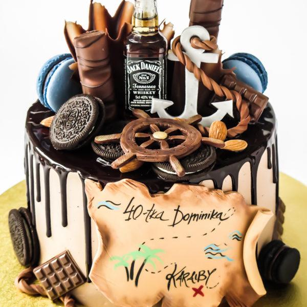 U600 - tort urodzinowy, na urodziny, męski, dla faceta, mężczyzny, męża, marynarza , w kremie, bez masy cukrowej, marynarski, jack daniels, drip, tort z dostawą, transportem warszawa, piaseczno, konstancin jeziorna, góra kalwaria, polska