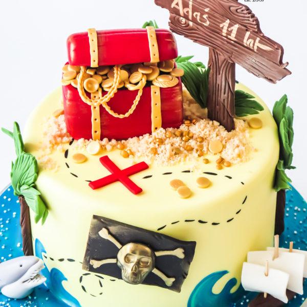 U603 - tort urodzinowy, na urodziny, dla dzieci, artystyczny, piracki, wyspa skarbów, piraci, złoto, skarb,tort z dostawą, transportem warszawa, piaseczno, konstancin jeziorna, góra kalwaria, polska