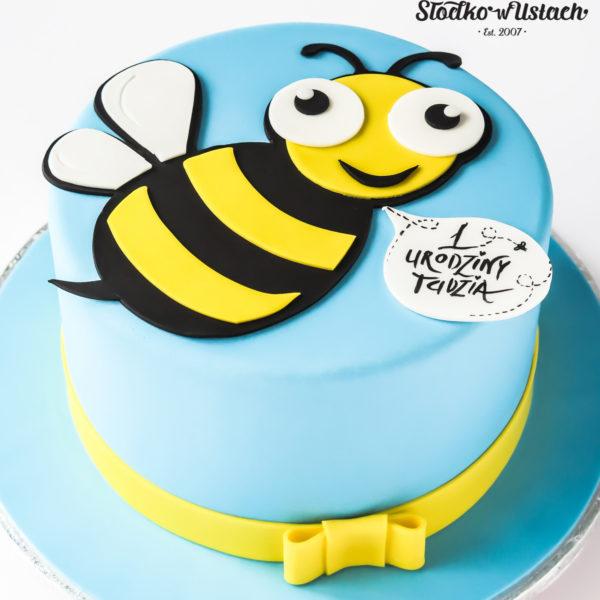 U604 - tort urodzinowy, na urodziny, dla dzieci, artystyczny, pszczółka, 1 urodzinki, roczek, tort z dostawą, transportem warszawa, piaseczno, konstancin jeziorna, góra kalwaria, polska