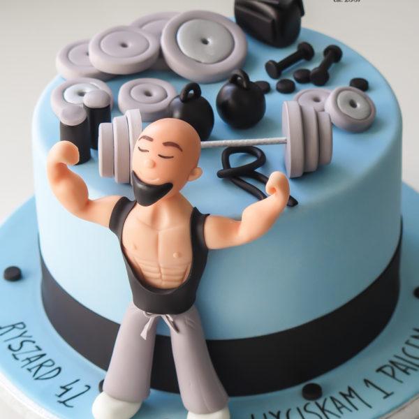 U609 - tort urodzinowy, na urodziny, dla mężczyzny, męski, artystyczny, siłownia, ciężary, sztanga, tort, cukiernia, pracownia tortów, z dostawą, transportem warszawa, piaseczno, konstancin jeziorna, góra kalwaria, polska