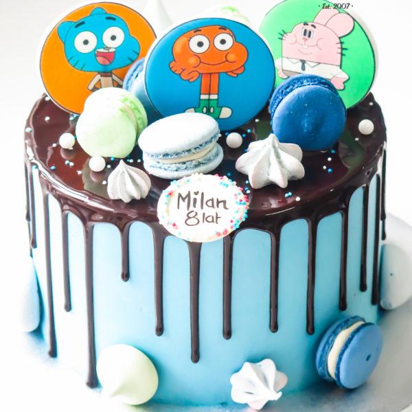 U611 - tort urodzinowy, na urodziny, dla dzieci, artystyczny, w kremie, bez masy cukrowej, niesamowity świat gumballa, drip, tort, cukiernia, pracownia tortów, z dostawą, dowozem, transportem warszawa, piaseczno, konstancin jeziorna, góra kalwaria, polska