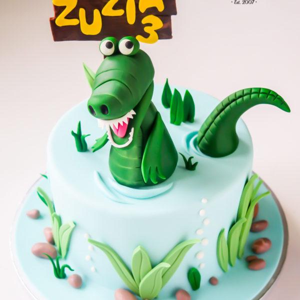 U613 - tort urodzinowy, na urodziny, dla dzieci, artystyczny, krokodyl, tort, cukiernia, pracownia tortów, z dostawą, dowozem, transportem warszawa, piaseczno, konstancin jeziorna, góra kalwaria, polska