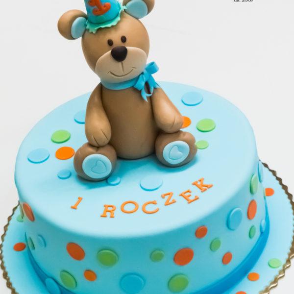 U614 - tort urodzinowy, na urodziny, dla dzieci, artystyczny, miś, misio, na roczek, cukiernia, pracownia tortów, tort z dostawą, dowozem, transportem warszawa, piaseczno, konstancin jeziorna, góra kalwaria, polska