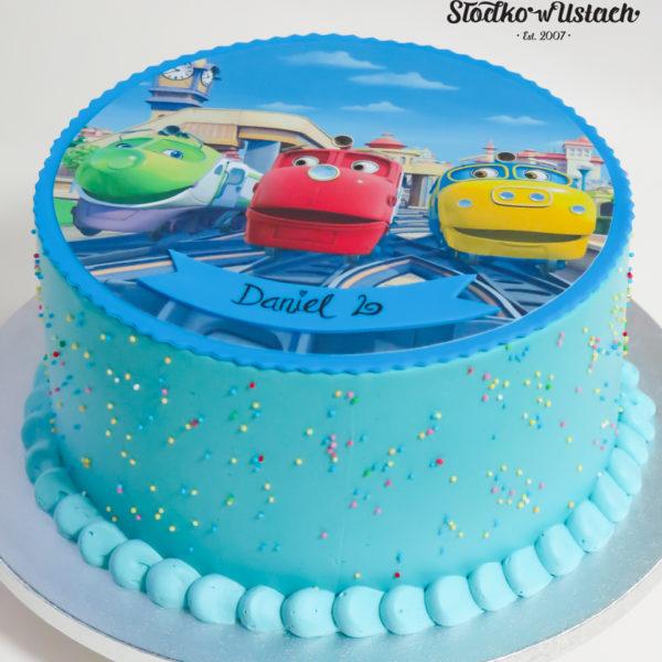 U622 - tort urodzinowy, na urodziny, dla dzieci, stacyjkowo, pociąg, ciuchciaki, bez masy cukrowej, w kremie, tort z dostawą, transportem warszawa, piaseczno, konstancin jeziorna, góra kalwaria, polska