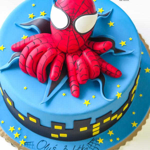 U623 - tort urodzinowy, na urodziny, dla dzieci, artystyczny, spiderman, człowiek pająk, tort, cukiernia, pracownia cukiernicza, z dostawą, transportem warszawa, piaseczno, konstancin jeziorna, góra kalwaria, polska