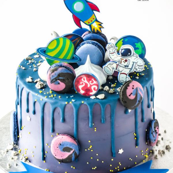 U624 - tort urodzinowy, na urodziny, dla dzieci, artystyczny, w kremie, bez masy cukrowej, kosmos, rakieta, planety, drip, tort, cukiernia, pracownia tortów, z dostawą, dowozem, transportem warszawa, piaseczno, konstancin jeziorna, góra kalwaria, polska