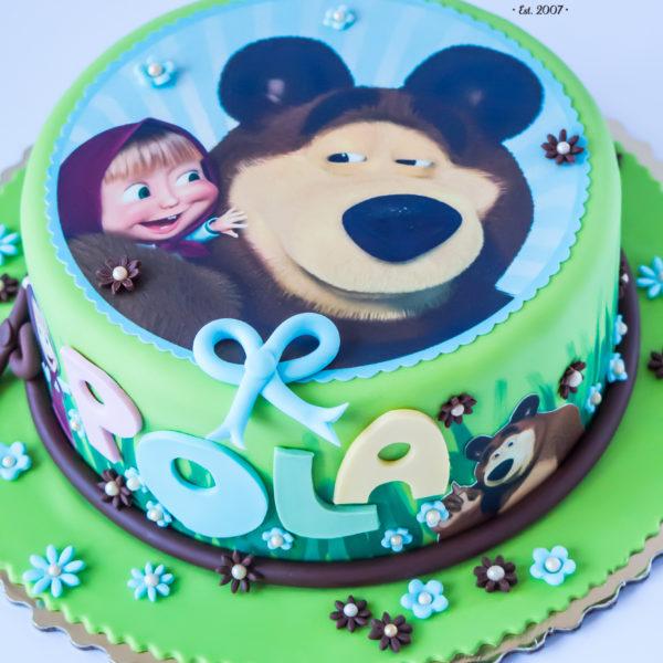 U628 - tort urodzinowy, na urodziny, dla dzieci, artystyczny, masza i niedźwiedź, tort, cukiernia, pracownia cukiernicza, z dostawą, transportem warszawa, piaseczno, konstancin jeziorna, góra kalwaria, polska