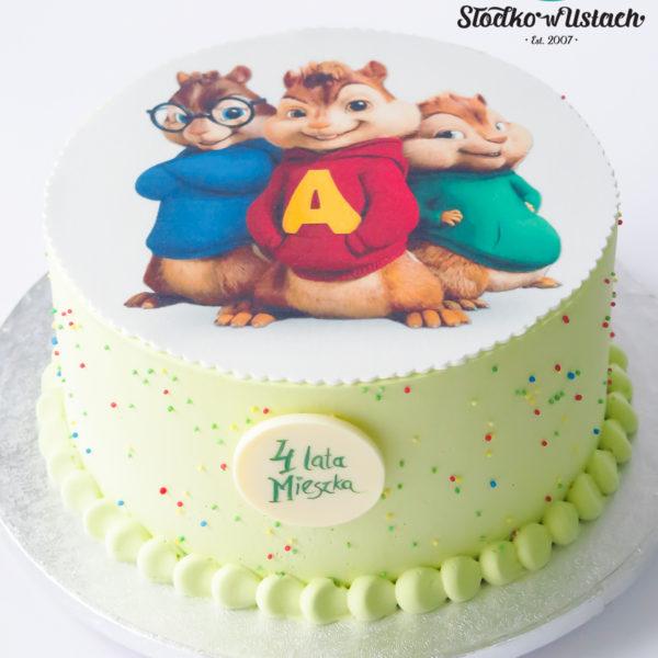 K113 - tort, alvin i wiewiórki, bez masy cukrowej, w kremie, dla dzieci, urodzinowy, z dostawą, tort z transportem, dowozem, cukiernia, warszawa, piaseczno, konstancin jeziorna, góra kalwaria, wilanów, otwock