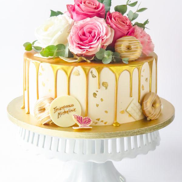 K120 - tort, z kwiatami, kwiaty, złocony, dla kobiety, żony, dziewczyny, kobiecy, drip, oblewany, bez masy cukrowej, w kremie, urodzinowy, okazjonalny, chrzciny, komunie, imieniny, najlepsze torty, z dostawą, z transportem, dowozem, cukiernia, warszawa, piaseczno, konstancin jeziorna, góra kalwaria, wilanów, otwock