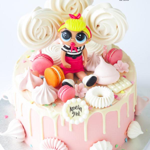 K124 - tort, z laleczką, lol surprise, drip, oblewany, bez masy cukrowej, w kremie, urodzinowy, najlepsze torty, z dostawą, z transportem, dowozem, cukiernia, warszawa, piaseczno, konstancin jeziorna, góra kalwaria, wilanów, otwock