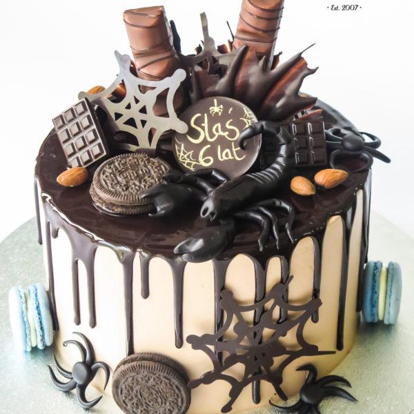 K139 - tort, z pająkami, drip, oblewany, bez masy cukrowej, w kremie, dla dzieci, urodzinowy, najlepsze torty, z dostawą, z transportem, dowozem, cukiernia, warszawa, piaseczno, konstancin jeziorna, góra kalwaria, wilanów, otwock