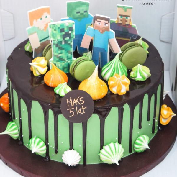 K142 - tort, minecraft, drip, oblewany, bez masy cukrowej, w kremie, dla dzieci, urodzinowy, najlepsze torty, z dostawą, z transportem, dowozem, cukiernia, warszawa, piaseczno, konstancin jeziorna, góra kalwaria, wilanów, otwock