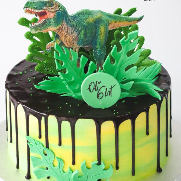 K144 - tort, z dinozaurem, trex, tyranozaur, drip, oblewany, bez masy cukrowej, w kremie, dla dzieci, urodzinowy, najlepsze torty, z dostawą, z transportem, dowozem, cukiernia, warszawa, piaseczno, konstancin jeziorna, góra kalwaria, wilanów, otwock