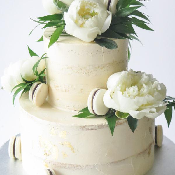 KCH90 - tort na chrzciny, z kwiatami, złotem, złocony, artystyczny, wyjątkowy, chrzest, komunię, komunijny, dla dziewczynki, cukiernia, semi naked, pracownia cukiernicza, z dostawą, transportem warszawa, piaseczno, konstancin jeziorna, góra kalwaria, polska