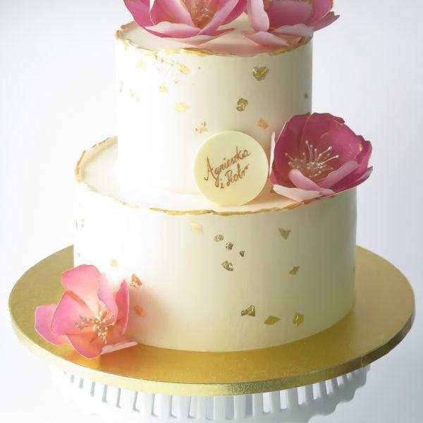 KCH91 - tort na chrzciny, z kwiatami, złotem, złocony, wyjątkowy, chrzest, komunię, komunijny, dla dziewczynki, artystyczny, cukiernia, pracownia cukiernicza, z dostawą, transportem warszawa, piaseczno, konstancin jeziorna, góra kalwaria, otwock
