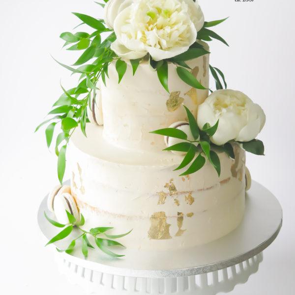 KCH92 - tort na chrzciny, z kwiatami, złotem, złocony, artystyczny, wyjątkowy, chrzest, komunię, komunijny, dla dziewczynki, cukiernia, semi naked, pracownia cukiernicza, z dostawą, transportem warszawa, piaseczno, konstancin jeziorna, góra kalwaria, polska