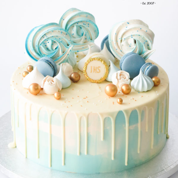 KCH97 - tort na chrzciny, chrzest, komunię, komunijny, dla chłopca, artystyczny, cukiernia, pracownia cukiernicza, z dostawą, transportem warszawa, piaseczno, konstancin jeziorna, góra kalwaria, otwock