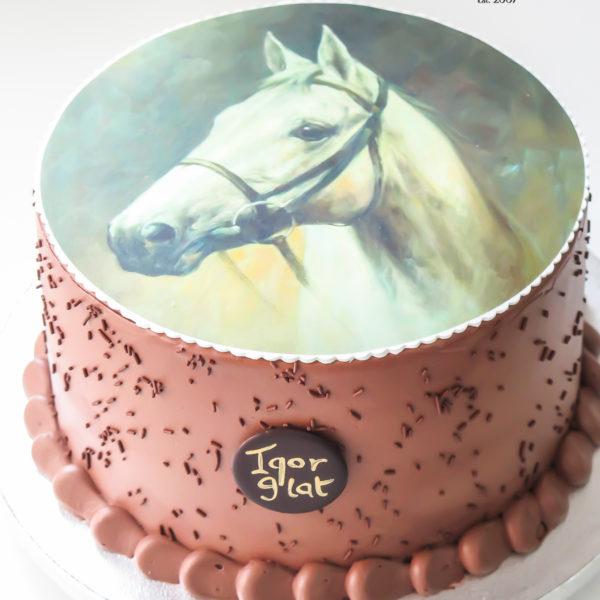 LM106 - tort urodzinowy, na urodziny, dla dzieci, z koniem, w kremie, last minute, na ostatnią chwilę, bez masy cukrowej, cukiernia z dostawą, transportem, dostawą, Warszawa, Piaseczno, Konstancin Jeziorna,, Otwock, Góra kalwaria, Wilanów